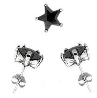 Ohrstecker 925 Silber schwarzer Zirkonia Stern