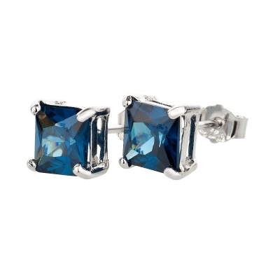 Ohrstecker 925 Silber Blauer Saphir eckig