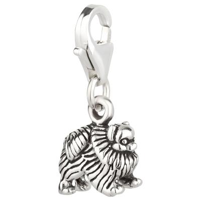 Charm / Anhänger 925 Silber Hund Zwergspitz