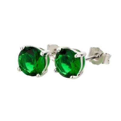 Ohrstecker 925 Silber Grüner Smaragd rund