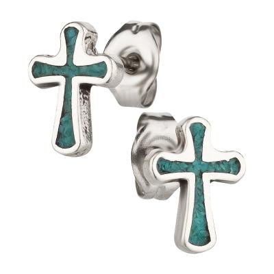 Ohrstecker 925 Silber Kreuz Türkis