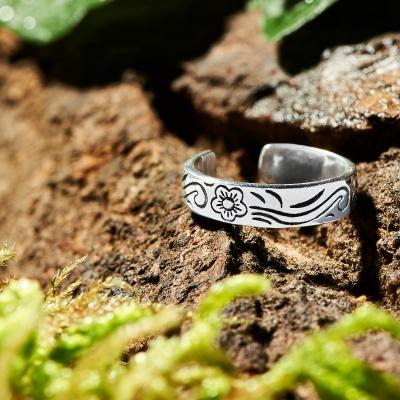 Zehenring 925 Silber Blume 6