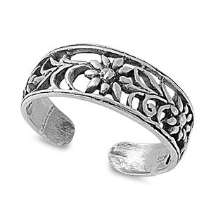 Zehenring 925 Silber Blume 8