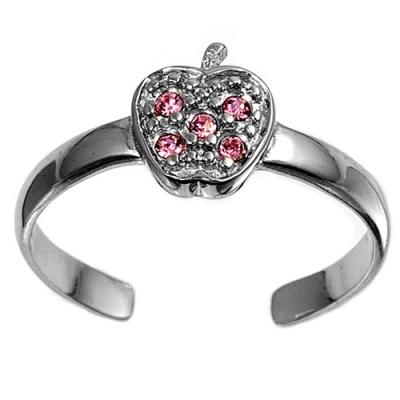 Zehenring 925 Silber Rosa Zirkonia, Apfel 1