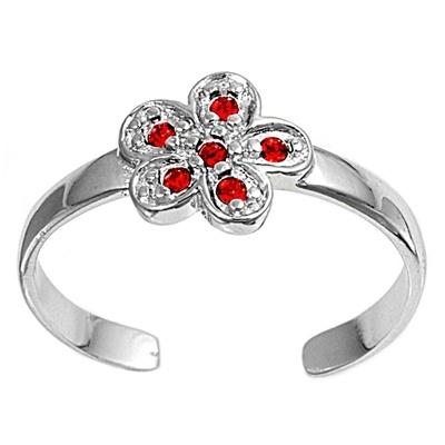 Zehenring 925 Silber Roter Zirkonia, Blume 1