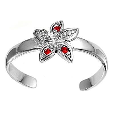 Zehenring 925 Silber Roter Zirkonia, Blume 2