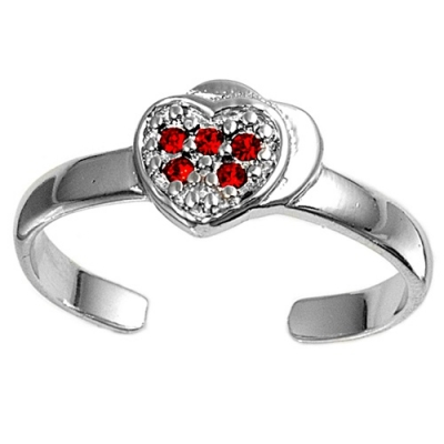 Zehenring 925 Silber Roter Zirkonia, Herz 1