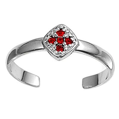 Zehenring 925 Silber Roter Zirkonia, Kreuz 1