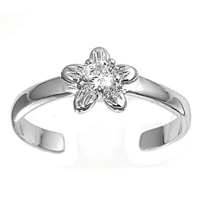 Zehenring 925 Silber Weißer Zirkonia, Blume 2