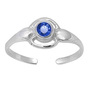 Zehenring 925 Silber Blauer Zirkonia 1