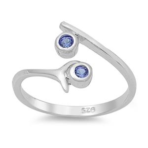 Zehenring 925 Silber Blauer Zirkonia 4