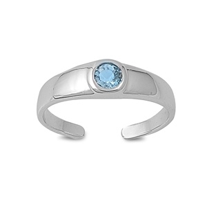 Zehenring 925 Silber Blauer Zirkonia 5