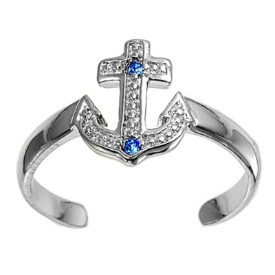 Zehenring 925 Silber Blauer Zirkonia, Anker 1