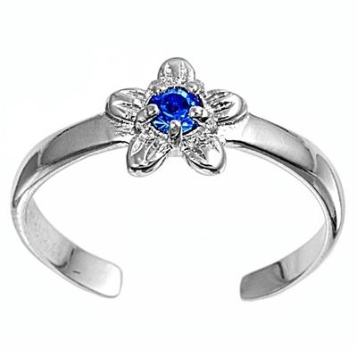 Zehenring 925 Silber Blauer Zirkonia, Blume 2