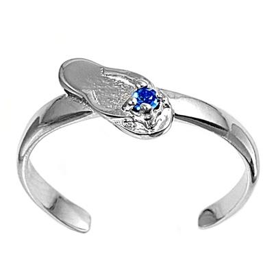 Zehenring 925 Silber Blauer Zirkonia, Sandale 1