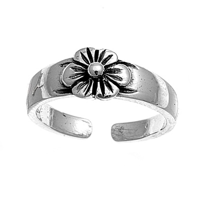 Zehenring 925 Silber Blume 9
