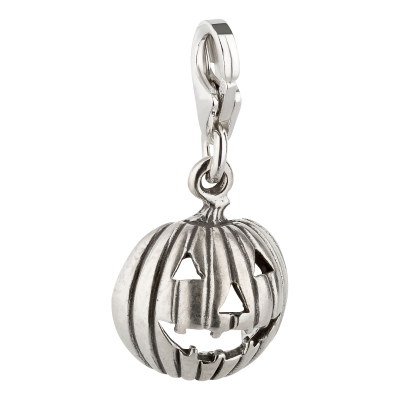 Charm / Anhänger 925 Silber Halloween Kürbis 2D