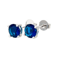 Ohrstecker 925 Silber Blauer Saphir rund