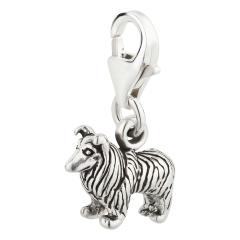 Charm / Anhänger 925 Silber Hund Collie
