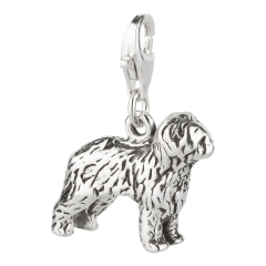Charm / Anhänger 925 Silber Hund Bobtail