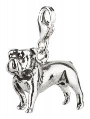 Charm / Anhänger 925 Silber Hund Bulldogge 3