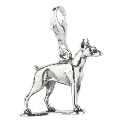 Charm / Anhänger 925 Silber Hund Dobermann