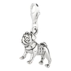 Charm / Anhänger 925 Silber Hund Mops 3