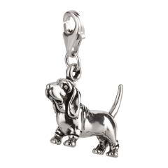 Charm / Anhänger 925 Silber Hund Basset Hound 2