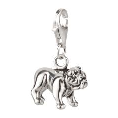 Charm / Anhänger 925 Silber Hund Bulldogge