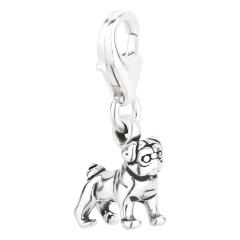 Charm / Anhänger 925 Silber Hund Mops