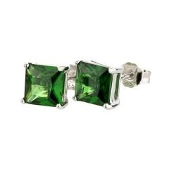 Ohrstecker 925 Silber Grüner Smaragd eckig
