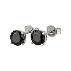 Ohrstecker 925 Silber schwarzer Zirkonia rund