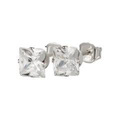 Ohrstecker 925 Silber weißer Zirkonia eckig