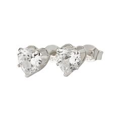Ohrstecker 925 Silber weißer Zirkonia Herz