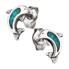 Ohrstecker 925 Silber Delfin Türkis