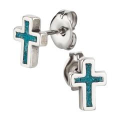 Ohrstecker 925 Silber Kreuz 2 Türkis