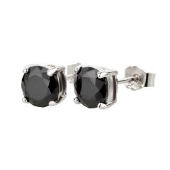 Ohrstecker 925 Silber Onyx rund