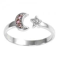 Zehenring 925 Silber Rosa Zirkonia, Mond Stern 1