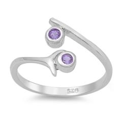 Zehenring 925 Silber Lila Zirkonia 2