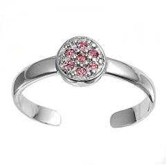 Zehenring 925 Silber Rosa Zirkonia 3