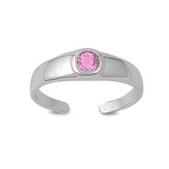 Zehenring 925 Silber Rosa Zirkonia 4