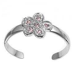 Zehenring 925 Silber Rosa Zirkonia, Blume 1