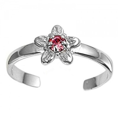 Zehenring 925 Silber Rosa Zirkonia, Blume 2