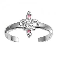 Zehenring 925 Silber Rosa Zirkonia, Fleur De Lise 1