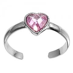 Zehenring 925 Silber Rosa Zirkonia, Herz 1