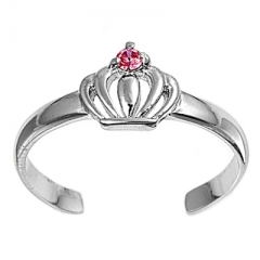 Zehenring 925 Silber Rosa Zirkonia, Krone 1