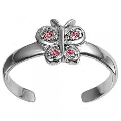 Zehenring 925 Silber Rosa Zirkonia, Schmetterling 1