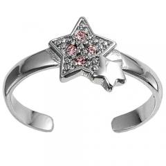 Zehenring 925 Silber Rosa Zirkonia, Stern 1