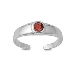 Zehenring 925 Silber Roter Zirkonia 4