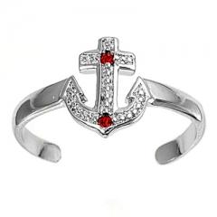 Zehenring 925 Silber Roter Zirkonia, Anker 1